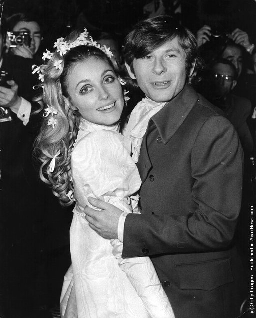 Polish film director Roman Polanski and American actress Sharon Tate at their wedding