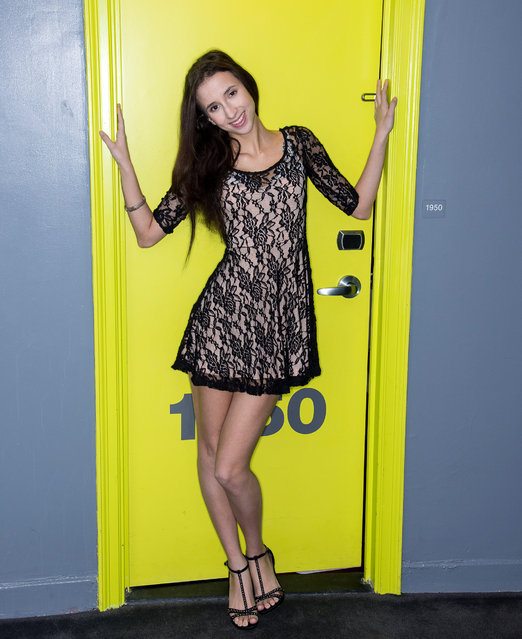 Belle Knox poses for photos on March 18, 2014 in New York City. (Photo by Dave Kotinsky/Getty Images)