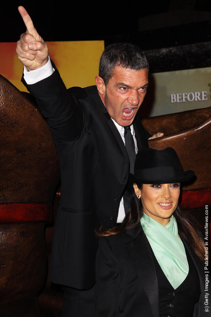 Antonio Banderas and Salma Hayek attend The Puss In Boots UK premiere at The Empire Leicester Square