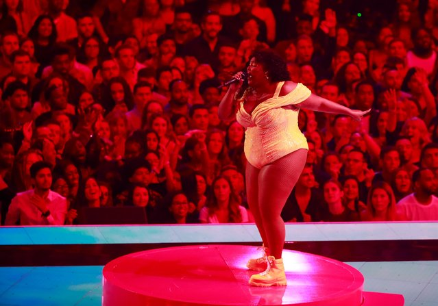 US singer Lizzo performs on stage during 2019 MTV Video Music Awards at the Prudential Center in Newark, New Jersey on August 26, 2019. (Photo by Lucas Jackson/Reuters)