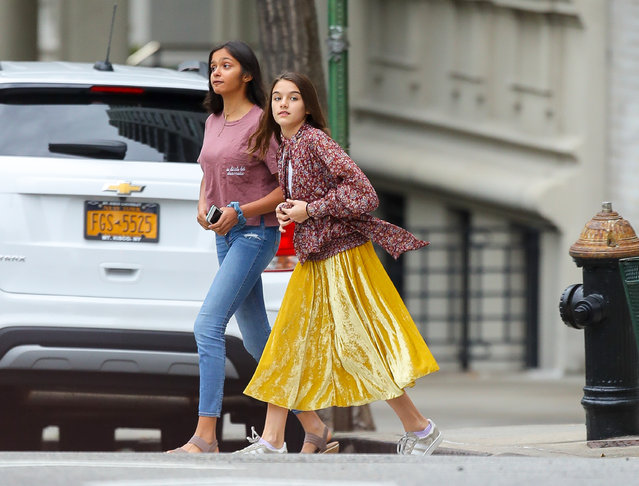 Suri Cruise was spotted all playful while out and about with a friend on Monday afternoon in NYC on September 30, 2019. (Photo by Felipe Ramales/Splash News and Pictures)