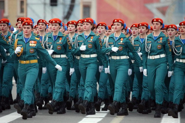 Female soldiers march in formation in St Petersburg' s Palace Square during a rehearsal of a Victory Day military parade marking the 72 nd anniversary of the victory over Nazi Germany in the 1941-1945 Great Patriotic War, the Eastern Front of World War II. (Photo by Peter Kovalev/TASS)