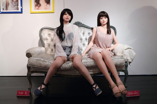 Orient Industry 40th Anniversary-Love Doll in Tokyo, Japan on May 19,  2017. Orient industry prides itself on its detail with two looking extremely real as they sit flirtatiously on a couch. (Photo by Masatoshi Okauchi/Rex Features/Shutterstock)