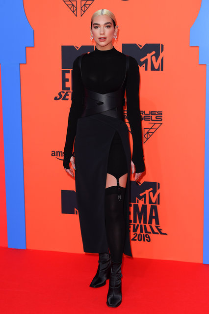 Dua Lipa attending the MTV Europe Music Awards 2019, held at the FIBES Conference & Exhibition Centre of Seville, Spain on November 03, 2019. (Photo by David Fisher/Rex Features/Shutterstock)