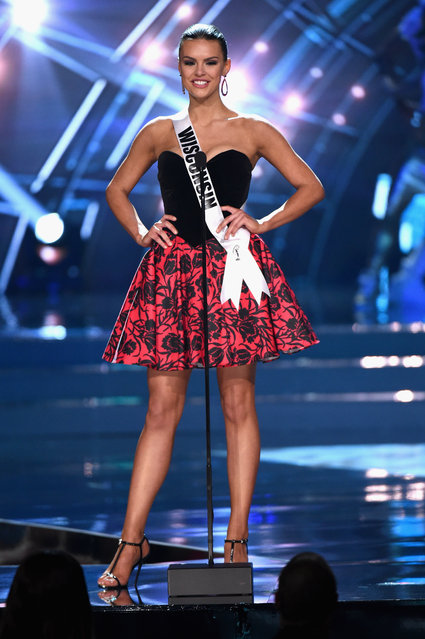 Miss Wisconsin USA 2016 Kate Redeker stands onstage during the 2016 Miss USA pageant at T-Mobile Arena on June 5, 2016 in Las Vegas, Nevada. (Photo by Ethan Miller/Getty Images)