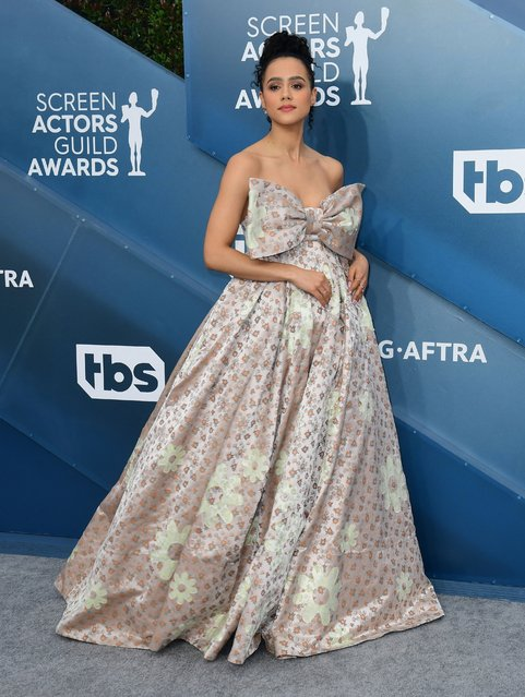 English actress Nathalie Emmanuel arrives for the 26th Annual Screen Actors Guild Awards at the Shrine Auditorium in Los Angeles on January 19, 2020. (Photo by Frederic J. Brown/AFP Photo)