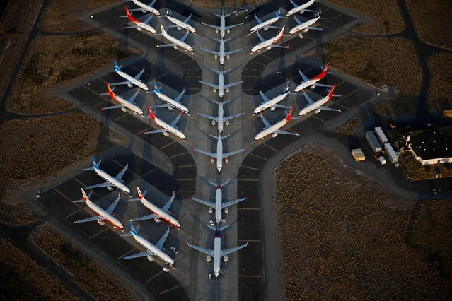 An aerial photo shows Boeing 737 MAX aircraft at Boeing facilities at the Grant County International Airport in Moses Lake, Washington, September 16, 2019. (Photo by Lindsey Wasson/Reuters)