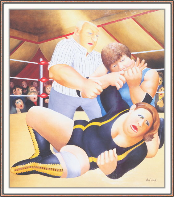 Lady Wrestlers. Artwork by Beryl Cook