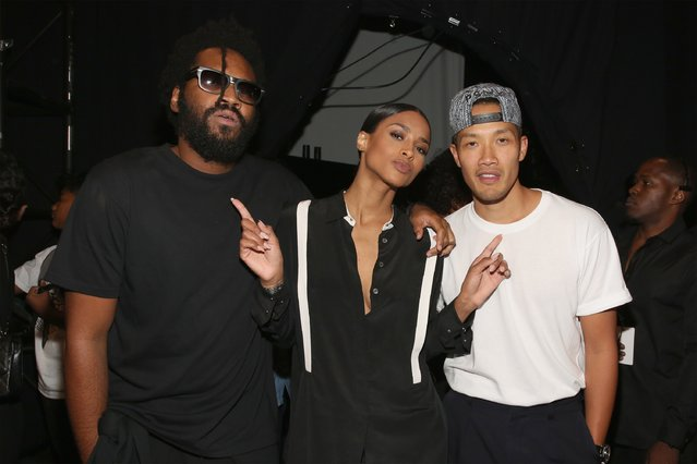 Fashion designers Maxwell Osborne (L) and Dao-Yi Chow (R) pose with musical artist Ciara (C) backstage after the Public School fashion show during Spring 2016 New York Fashion Week: The Shows at The Arc, Skylight at Moynihan Station on September 13, 2015 in New York City. (Photo by Mireya Acierto/Getty Images)