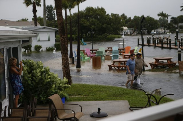 Residents of the Sandpiper Resort survey the rising water coming from the Gulf of Mexico into their neighborhood as winds and storm surge associated with Tropical Storm Hermine impact the area on September 1, 2016 at in Holmes Beach, Florida. Hurricane warnings have been issued for parts of Florida's Gulf Coast as Hermine is expected to make landfall as a Category 1 hurricane (Photo by Brian Blanco/Getty Images)