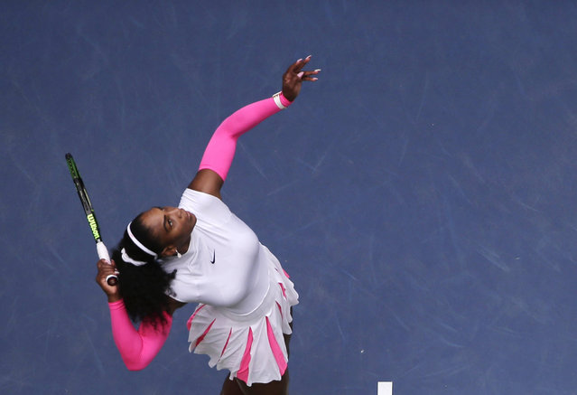 Serena Williams, of the United States, serves to Johanna Larsson, of Sweden, during the third round of the U.S. Open tennis tournament, Saturday, September 3, 2016, in New York. (Photo by Julie Jacobson/AP Photo)