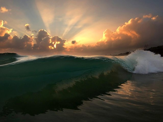 """North Shore Sunrise by Freddy Booth. Can't remember the last time i woke up early to surf, but lately photography has got me dawn patrolling again. My first Love, and life itself, The Ocean... Mahalo Ke Akua!"". (Photo by Freddy Booth)"