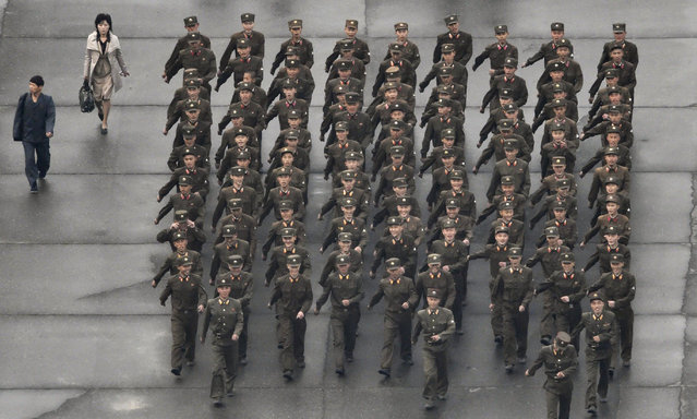 North Korea's military soldiers prepare for the 70th anniversary of its ruling party's creation in Pyongyang, North Korea, Saturday morning, October 10, 2015. (Photo by Takuro Yabe/Kyodo News via AP Photo)