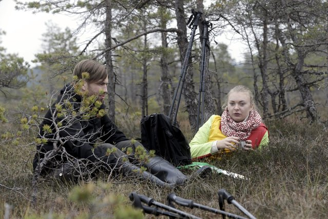 People take a rest during a tour of the Great Kemeri Bog, Latvia, October 17, 2015. (Photo by Ints Kalnins/Reuters)