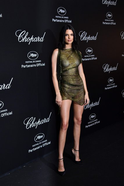 US model Kendall Jenner poses as she arrives on May 11, 2018 for the Secret Chopard Party on the sidelines of the 71 st Cannes film festival in Cannes, southeastern France. (Photo by Yann Coatsaliou/AFP Photo)