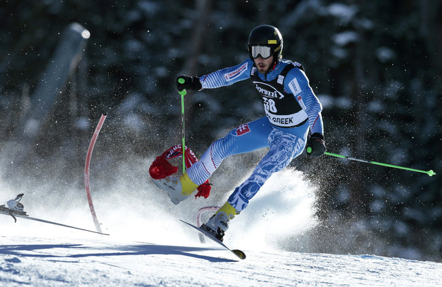 Slovakia's Andreas Zampa crashes during the men's World Cup giant slalom ski race Sunday, December 6, 2015, in Beaver Creek, Colo. (Photo by Nathan Bilow/AP Photo)