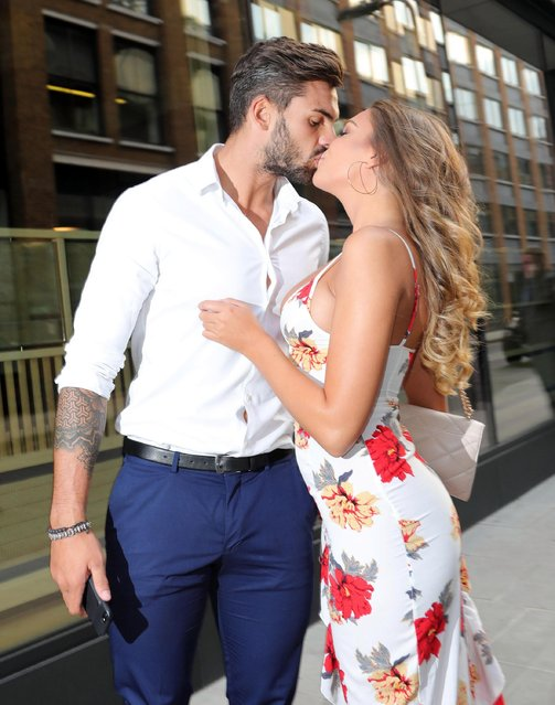 Adam Collard and Zara McDermott seen attending the ITV Summer Party at Nobu Hotel in Shoreditch on July 19, 2018 in London, England. (Photo by The Mega Agency)