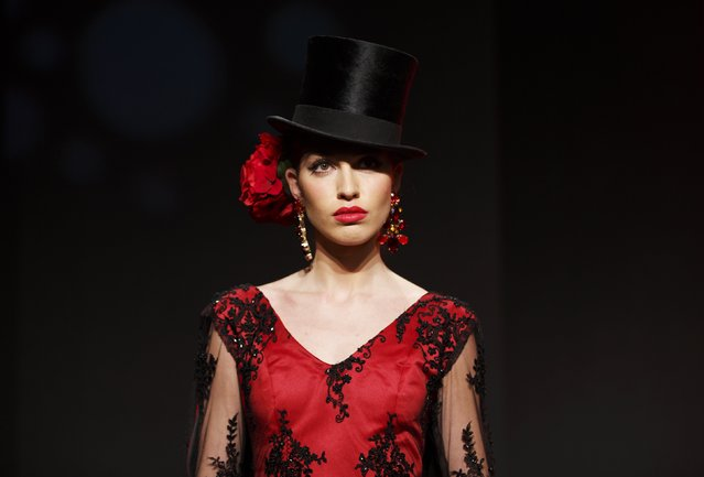 A model presents a creation by Javier Mojarro during the International Flamenco Fashion Show SIMOF in the Andalusian capital of Seville February 5, 2015. (Photo by Marcelo del Pozo/Reuters)