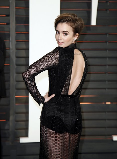 Actress Lily Collins arrives at the 2015 Vanity Fair Oscar Party in Beverly Hills, California February 22, 2015. (Photo by Danny Moloshok/Reuters)