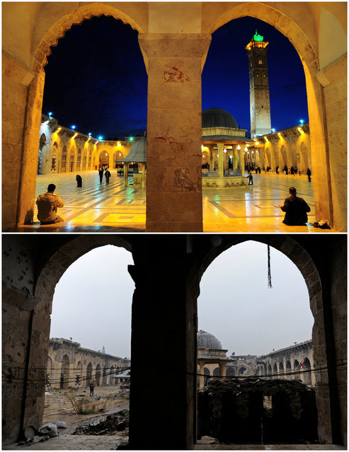 A combination picture shows Aleppo's Umayyad mosque, Syria, before it was damaged on March 12, 2009 (top) and after it was damaged (bottom) December 13, 2016. (Photo by Omar Sanadiki/Reuters)