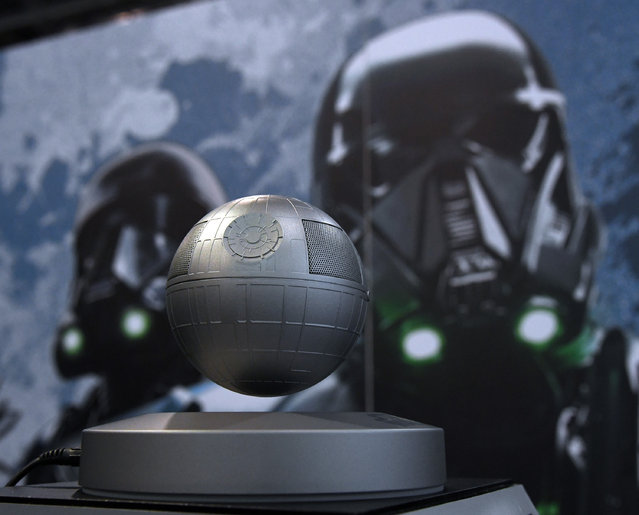 Plox's Star Wars Death Star Levitating Bluetooth Speaker is displayed at CES 2017 at the Sands Expo and Convention Center on January 5, 2017 in Las Vegas, Nevada. The USD 179, five-watt speaker rotates above a magnetic base providing 360 degrees of sound and five hours of continuous playback on Bluetooth. (Photo by Ethan Miller/Getty Images)