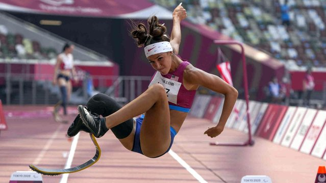 Beatriz Hatz of the United States competes in the women's T62 long jump final during the 2020 Paralympics at the National Stadium in Tokyo, Saturday, August 28, 2021. (Photo by Kiichiro Sato/AP Photo)