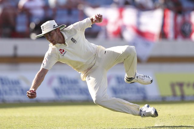 England's Stuart Broad takes the catch to dismiss West Indies' Alzarri Joseph during day two of the third cricket Test match at the Daren Sammy Cricket Ground in Gros Islet, St. Lucia, Sunday, February 10, 2019. (Photo by Ricardo Mazalan/AP Photo)