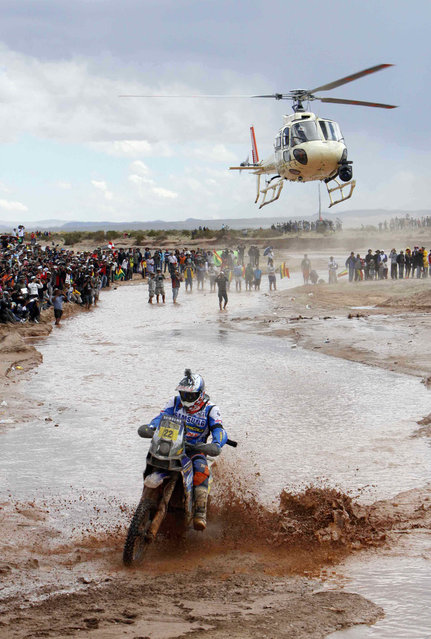 Alain Duclos of France rides his Sherco motorcycle during the seventh stage of the Dakar Rally 2014, from Abrapampa to Tupiza and Uyuni in this January 12, 2014 handout picture. (Photo by Reuters/ABI/Bolivian Presidency)