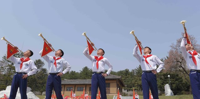 People take part in celebrations to commemorate the anniversary of the birth of North Korea's founding leader Kim Il Sung, at Changdok School in Pyongyang in this undated photo released by North Korea's Korean Central News Agency (KCNA) April 15, 2016. (Photo by Reuters/KCNA)