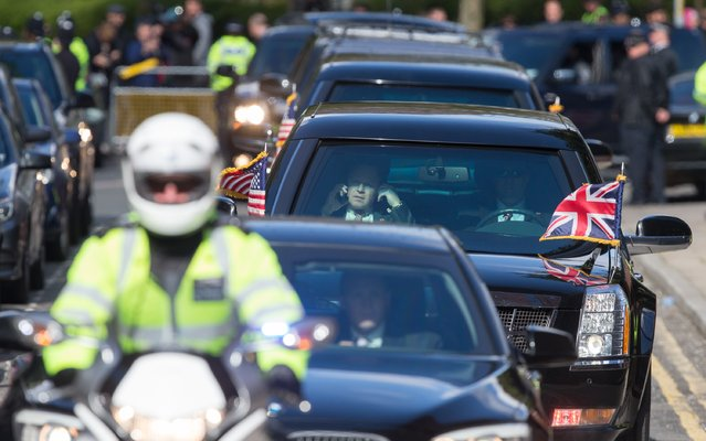 President Obama's motorcade leaves following a visit at the Globe theatre on the 400th anniversary of William Shakespeare's death at The Globe Theatre on April 23, 2016 in London, England.The President and his wife are currently on a brief visit to the UK where they visited HM Queen Elizabeth II at Windsor Castle and later had dinner with Prince William and his wife Catherine, Duchess of Cambridge at Kensington Palace. (Photo by Matt Cardy/Getty Images)