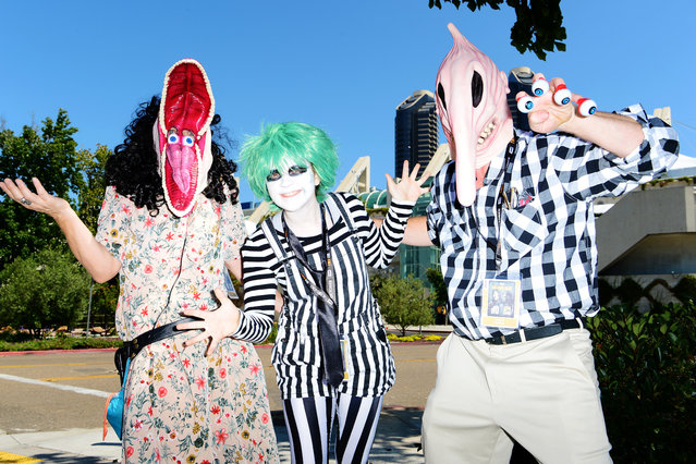 Karen Hartstein, Sydney Hartstein and Greg Hartstein of Los Angeles dress in cosplay as their favorite characters from 'Beetlejuice' at Comic Con on July 18, 2019 in San Diego, California. (Photo by Jerod Harris/Getty Images)