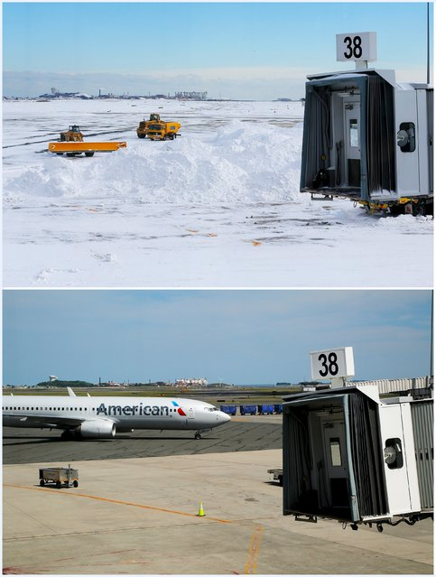 A combination picture shows crews removing snow around an empty gate at Logan Airport following a winter blizzard in Boston, Massachusetts, United States January 28, 2015 (top), and an American Airlines plane pulling up to a gate June 13, 2015. Outdoor scenes in Boston show local residents enjoying balmy weather amid lush greenery as the summer solstice approaches on 21 June. (Photo by Brian Snyder/Reuters)