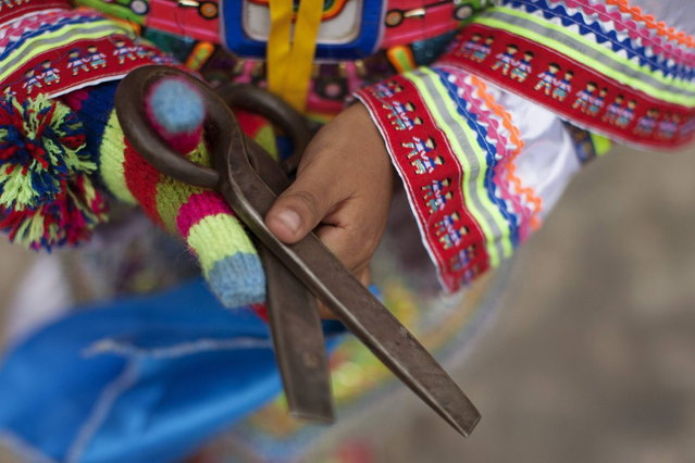 "A young ""scissors"" dancer holds his scissors after performing in a national scissors dance competition at Lima's Exposition Park, May 18, 2014. The Danza de las tijeras, or scissors dance, is a traditional dance from the Peruvian southern region of the Andes, in which two or more performers take turns dancing while accompanied with music from a harp and a violin. Dancers would display various skills and moves, which include cutting the air with the use of a scissors. (Photo by Enrique Castro-Mendivil/Reuters)"