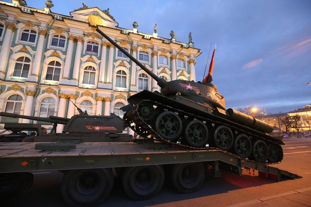 A T-34-85 tank seen in St Petersburg' s Palace Square during a rehearsal of a Victory Day military parade marking the 72 nd anniversary of the victory over Nazi Germany in the 1941-1945 Great Patriotic War, the Eastern Front of World War II. (Photo by Peter Kovalev/TASS)