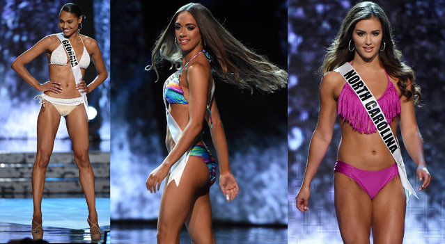 Miss Georgia USA Emanii Davis, Miss Kentucky USA Kyle Hornback and Miss North Carolina USA Devin Gant competes in the swimsuit competition during the 2016 Miss USA pageant preliminary competition at T-Mobile Arena on June 1, 2016 in Las Vegas, Nevada. The 2016 Miss USA will be crowned on June 5 in Las Vegas. (Photo by Ethan Miller/Getty Images)