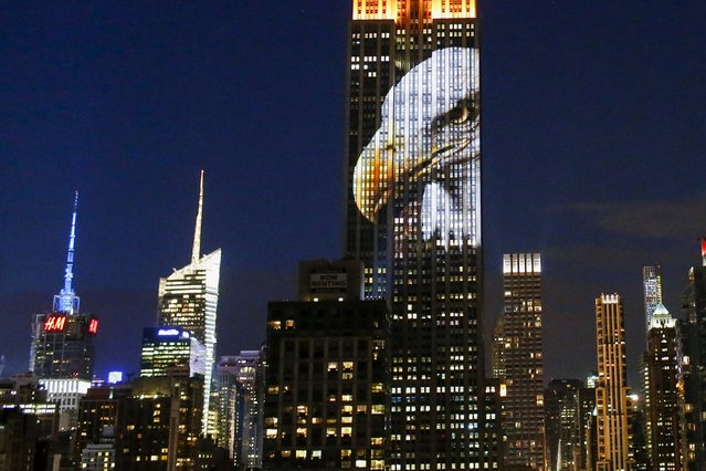 An image of an animal is projected onto the Empire State Building as part of an endangered species projection to raise awareness, in New York August 1, 2015. (Photo by Eduardo Munoz/Reuters)