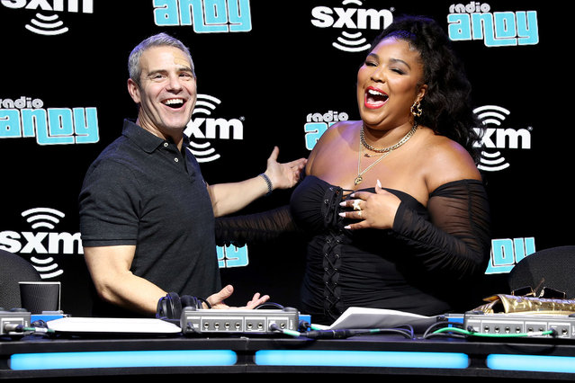 SiriusXM host Andy Cohen and artist Lizzo take photos onstage during day 3 of SiriusXM at Super Bowl LIV on January 31, 2020 in Miami, Florida. (Photo by Cindy Ord/Getty Images for SiriusXM)