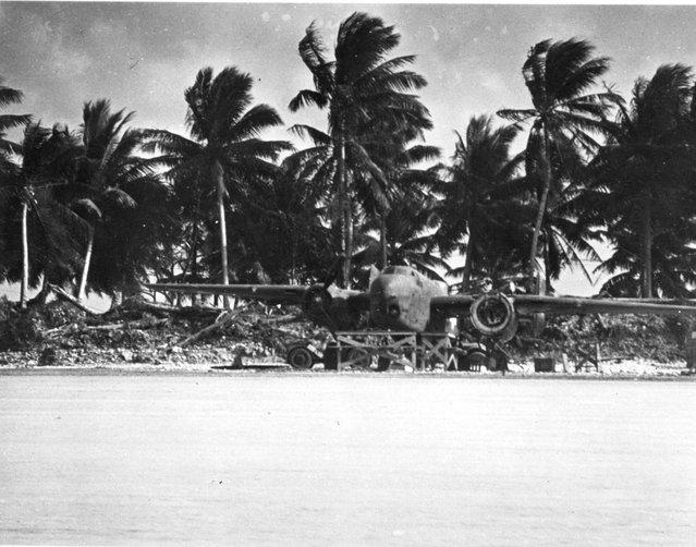 Plane on air strip, Majuro