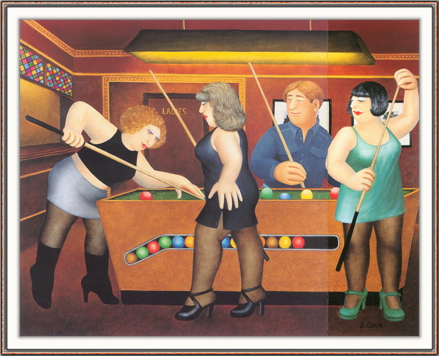 Pool Table. Artwork by Beryl Cook