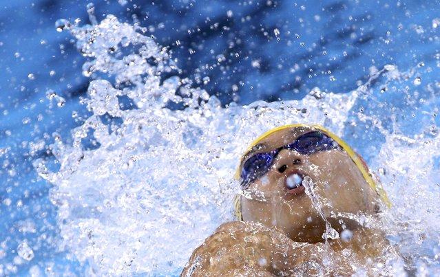 2016 Rio Olympics, Swimming, Preliminary, Men's 100m Backstroke, Heats, Olympic Aquatics Stadium, Rio de Janeiro, Brazil on August 7 2016. Xu Jiayu (CHN) of China (PRC) prepares. (Photo by David Gray/Reuters)