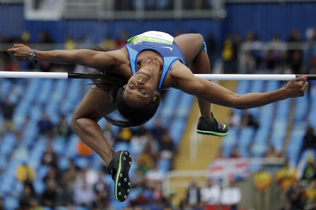 United States' Barbara Nwaba competes in a heat of the women's heptathlon high jump during the Summer Olympics in Rio de Janeiro, Brazil, Friday, August 12, 2016. (Photo by Matt Slocum/AP Photo)