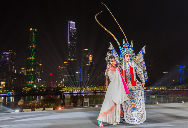 Artists perform Chinese Opera during a welcoming banquet around Canton Tower on day two of the 2017 Fortune Global Forum on December 7, 2017 in Guangzhou, Guangdong Province of China. The 2017 Fortune Global Forum is held on Dec 6-8 in Guangzhou. (Photo by VCG/VCG via Getty Images)