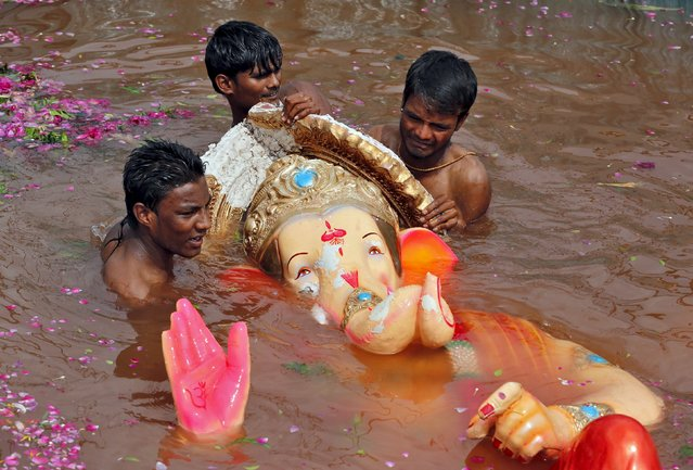 Volunteers prepare to lift an idol of the Hindu god Ganesh, the deity of prosperity, from a temporary pond after its immersion during the ten-day-long Ganesh Chaturthi festival in Ahmedabad, India, September 22, 2015. (Photo by Amit Dave/Reuters)