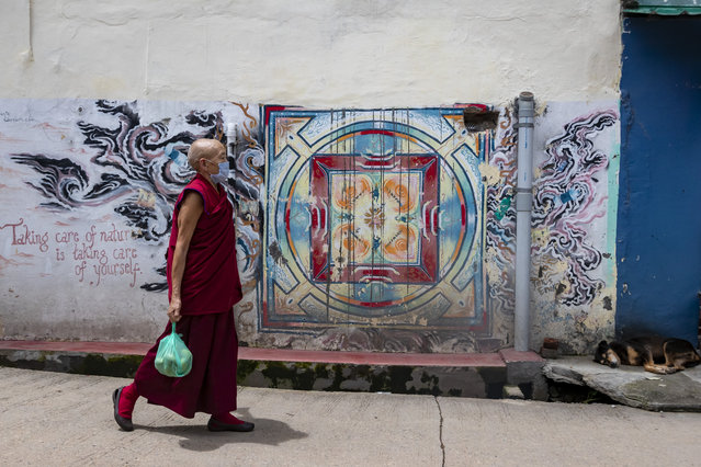 "An exile Tibetan Buddhist nun wearing a mask as a precaution against the coronavirus walks past a wall painting with a saying ""Taking care of nature is taking care of yourself"" in Dharmsala, India, Thursday, August 6, 2020. (Photo by Ashwini Bhatia/AP Photo)"