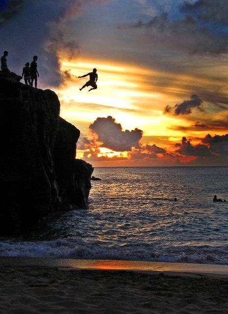 """Jumpology"". ""Same song, second verse"". Hawaii, USA. (Photo by Kara Baker)"