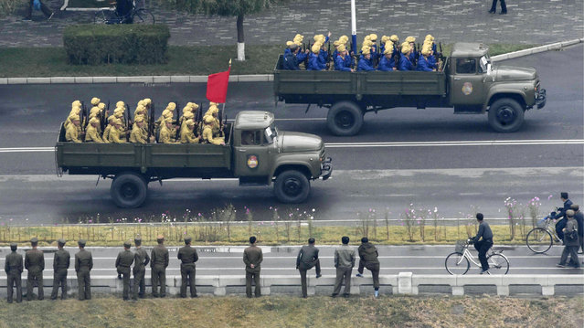 North Korea's military vehicles head to Kim Il Sung Square in Pyongyang, North Korea, Saturday morning, October 10, 2015. North Korea is holding what is expected to be one of its biggest celebrations ever Saturday for the 70th anniversary of its ruling party's creation, an attention-getting event that is the government's way of showing the world and its own people the Kim dynasty - now in its third generation - is firmly in control and its military a power to be reckoned with. (Photo by Takuro Yabe/Kyodo News via AP Photo)