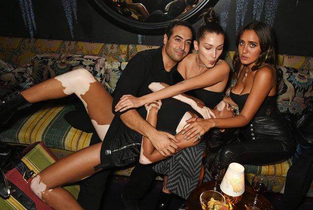 (L to R) Mohammed Al Turki, Bella Hadid, Jesse Jo Stark and Winnie Harlow attend the LOVE Magazine and Marc Jacobs LFW Party to celebrate LOVE 16.5 collector's issue of LOVE and Berlin 1989 at Loulou's on September 19, 2016 in London, England. (Photo by David M. Benett/Dave Benett/Getty Images for LOVE/CONDE NAST)