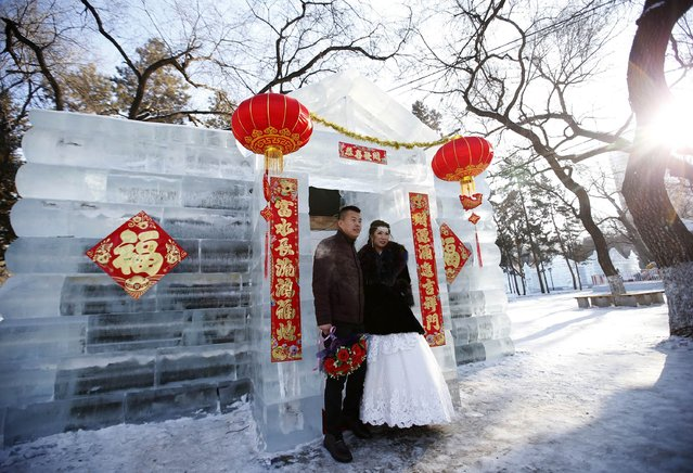A newly-wed couple pose for their wedding photographs in front of an ice sculpture after their group wedding ceremony which was held as a part of the Harbin International Ice and Snow Festival in the northern city of Harbin, Heilongjiang province January 6, 2015. (Photo by Kim Kyung-Hoon/Reuters)