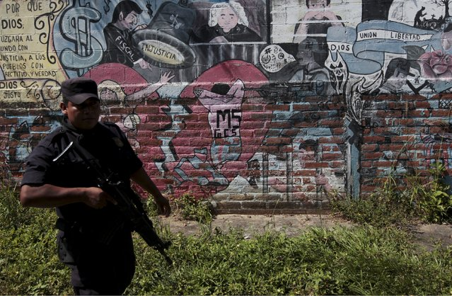 Policemen walk past graffiti associated with the Mara Salvatrucha gang in the Montreal neighborhood in Mejicanos, El Salvador December 9, 2015. The El Salvadorean police is conducting an operation to erase graffiti associated with gangs as part of a strategy to regain control in gang-controlled areas in this neighborhood, according to the police. (Photo by Jose Cabezas/Reuters)