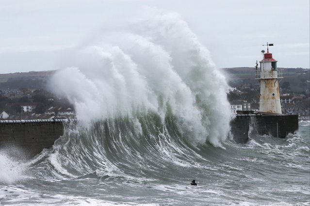 A bodyboarder attempts to take photos in the sea as the waves crash against the Newlyn pier on February 12, 2021 in Newlyn, England. High winds across the South West coastal regions has seen huge waves in Cornwall, causing flooding and damage in some cases. (Photo by Cameron Smith/Getty Images)